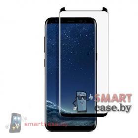 Защитное стекло для Samsung Galaxy S8 закругленное, полная проклейка (чёрный)
