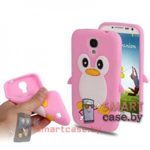 Силиконовый чехол для Samsung Galaxy S4 Пингвиненок (Розовый)