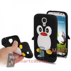 Силиконовый чехол для Samsung Galaxy S4 Пингвиненок (Черный)