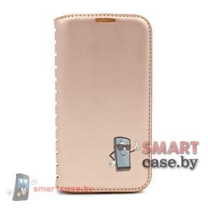 Кожаный чехол для Samsung Galaxy i9500 S4 (золотой)