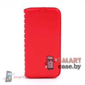 Кожаный чехол для Samsung Galaxy i9500 S4 (красный)