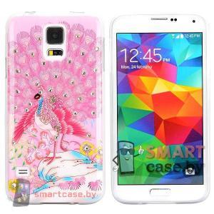 Силиконовый чехол для Samsung Galaxy S5 со стразами  (Розовый павлин)