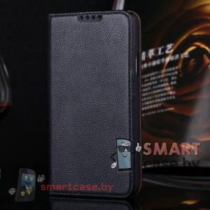 Чехол книга для Samsung Galaxy S5 Crazy Horse натуральная кожа (Черный)