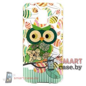 Чехол-накладка для Samsung Galaxy S5 mini Glitter Powder (зеленая сова)