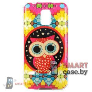Чехол-накладка для Samsung Galaxy S5 mini Glitter Powder (красная сова)