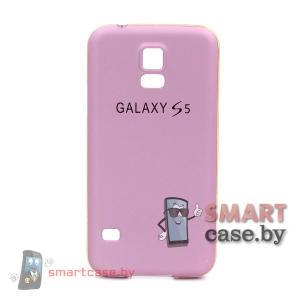 Алюминиевый бампер + крышка софт тач для Samsung Galaxy S5 (Розовый)