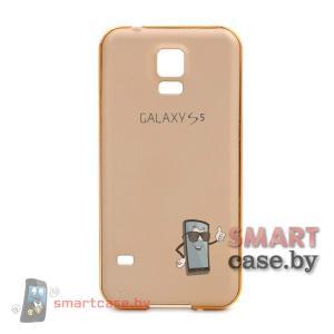 Алюминиевый бампер + крышка софт тач для Samsung Galaxy S5 (Золотой)