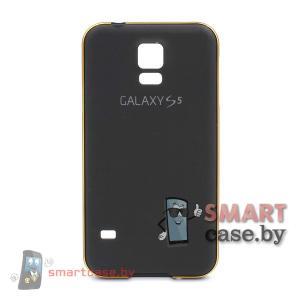 Алюминиевый бампер + крышка софт тач для Samsung Galaxy S5 (Черный)