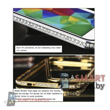 Алюминиевый бампер со стразами для Samsung Galaxy S5 (Золотой)