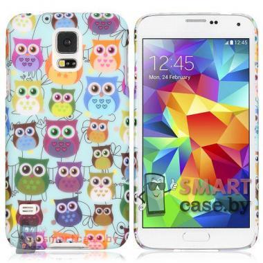 Чехол накладка для Samsung Galaxy S5 ультра тонкий (совы)