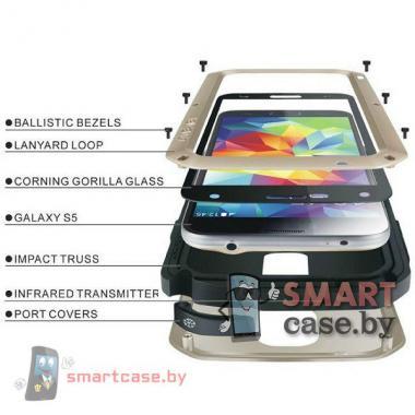 Экстремальный чехол для Samsung Galaxy S5 алюминиевый Love Mei (черный)