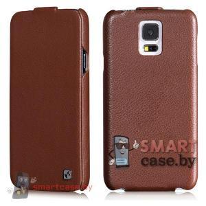 Чехол флип для Samsung Galaxy S5 кожаный HOCO (коричневый)