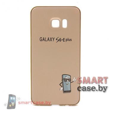Алюминиевый бампер + крышка софт тач для Samsung Galaxy S6 e Plus (Золотой)
