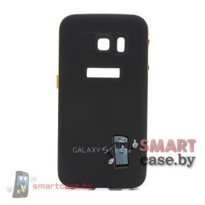 Алюминиевый бампер + крышка софт тач для Samsung Galaxy S6-Edge (Черный)