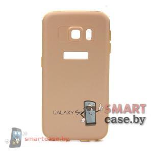 Алюминиевый бампер + крышка софт тач для Samsung Galaxy S6-Edge (Золотой)
