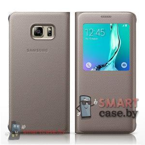 Оригинальный чехол для Samsung Galaxy S6 Edge S View (Золотой)