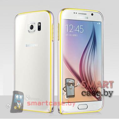 Бампер для Samsung Galaxy S6 алюминиевый (Серебро с золотом)
