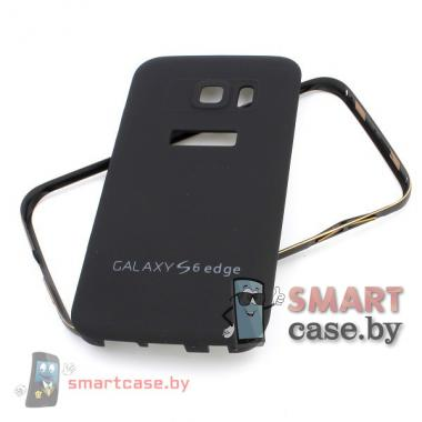 Алюминиевый бампер + крышка софт тач для Samsung Galaxy S6 (Черный)