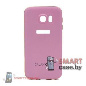 Алюминиевый бампер + крышка софт тач для Samsung Galaxy S6 (Розовый)