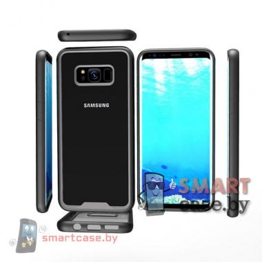 Бампер для Samsung Galaxy S8 акриловый пластик + силикон (Черный)