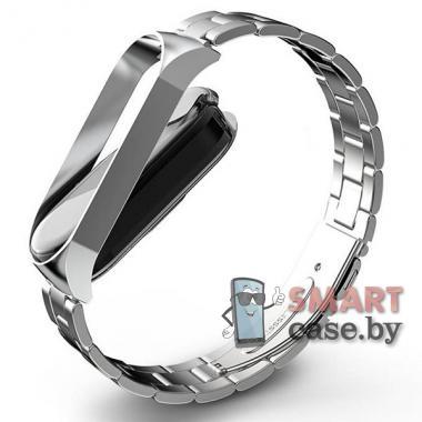 Ремешок для фитнес - браслета Mi Band 4 металлический (Серебро)